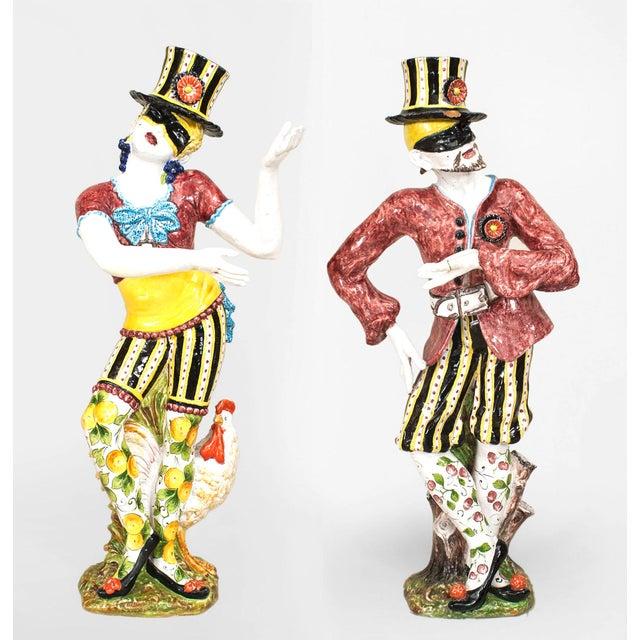 19th Century Italian Majolica Harlequins - Set of 2 For Sale - Image 11 of 11