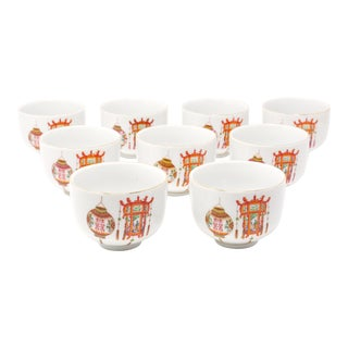 Vintage Republic of China Lantern Teacups - Set of 9 For Sale
