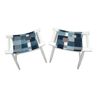 Mid-Century Denim Upholstered Stools- A Pair