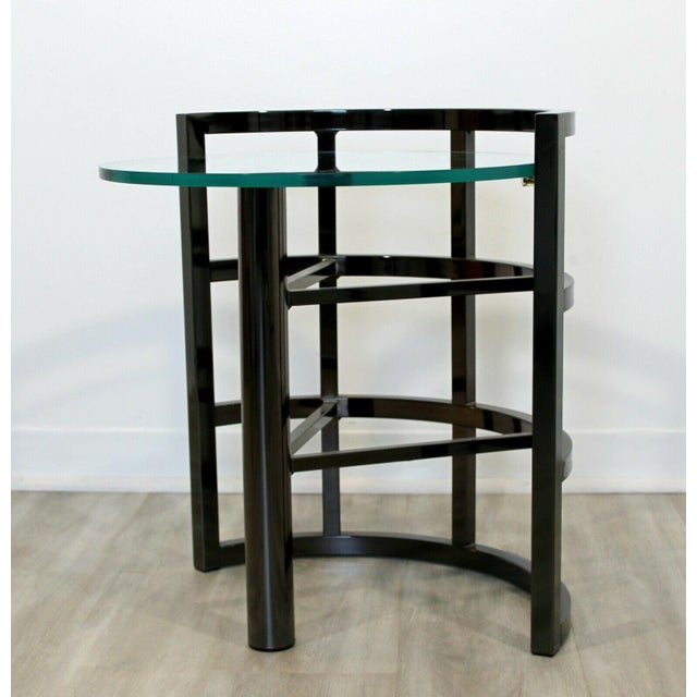 1980s Contemporary Modern Brueton Round Gunmetal Glass Side End Table 80s Asymmetrical For Sale - Image 5 of 12