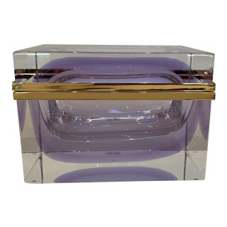 21st Century Murano Lavender Giant Crystal Jewel Box by Mandruzzato For Sale