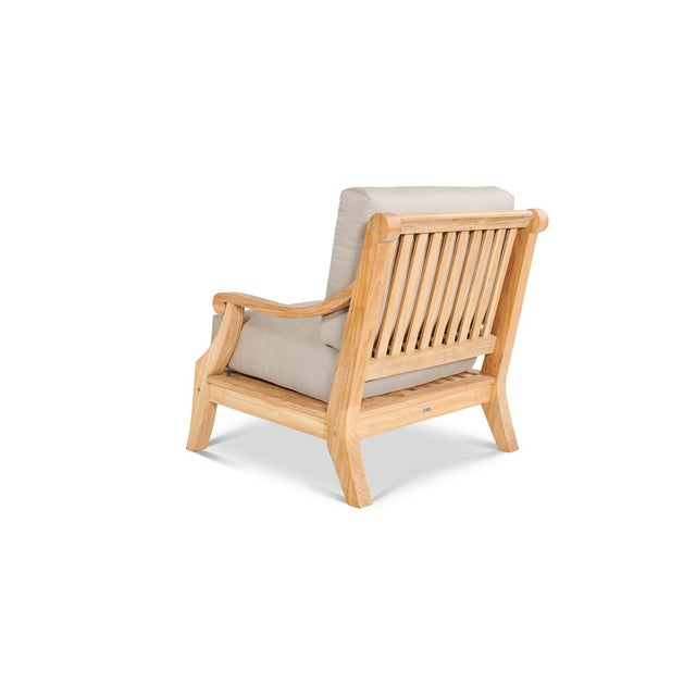 The Sonoma Teak Deep Seating Outdoor Club Chair with Sunbrella Antique Beige Cushion is the ultimate in outdoor deep...