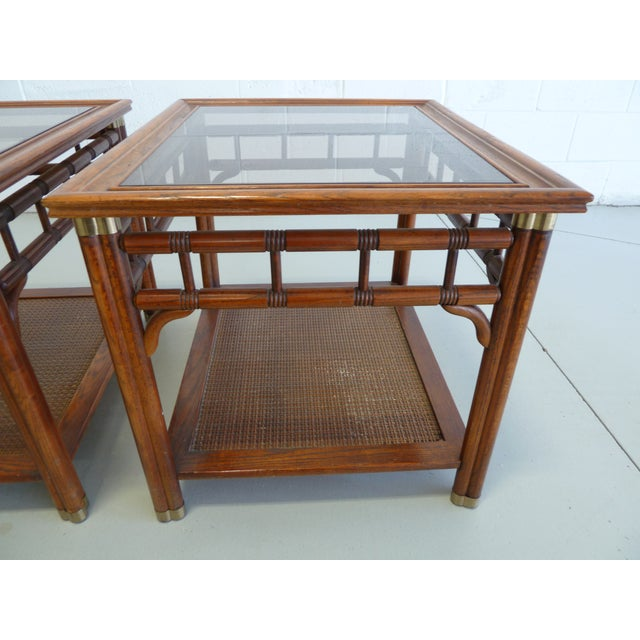 Vintage Faux Bamboo & Cane Regency Side Tables - a Pair For Sale In Chicago - Image 6 of 12