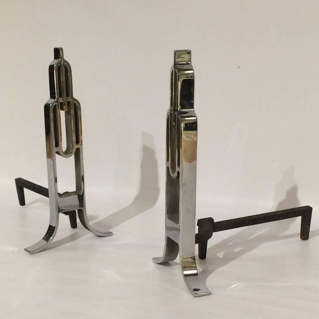 Chrome Art Deco Streamline Andirons - A Pair - Image 3 of 8