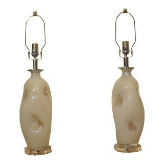 Murano Hand Blown Table Lamps - a Pair Sold For Sale