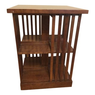 1990s Mission Stickley Cherry Revolving Bookcase For Sale