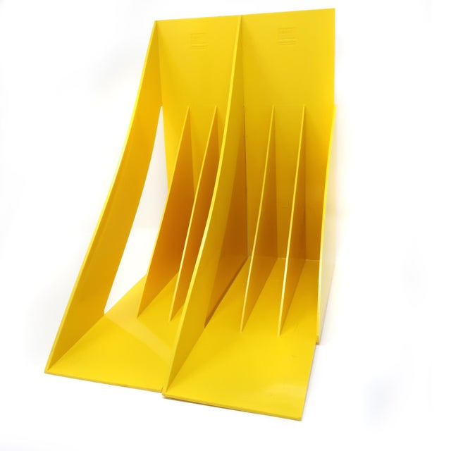 Plastic Pair of Yellow Record or Magazine Racks by Giotto Stoppino for Heller For Sale - Image 7 of 7