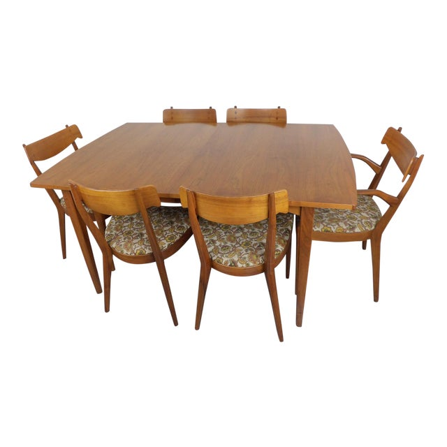 Mid Century Modern Walnut Dining Table, Leaves & 6 Chairs Set Kipp Stewart for Drexel Declaration For Sale