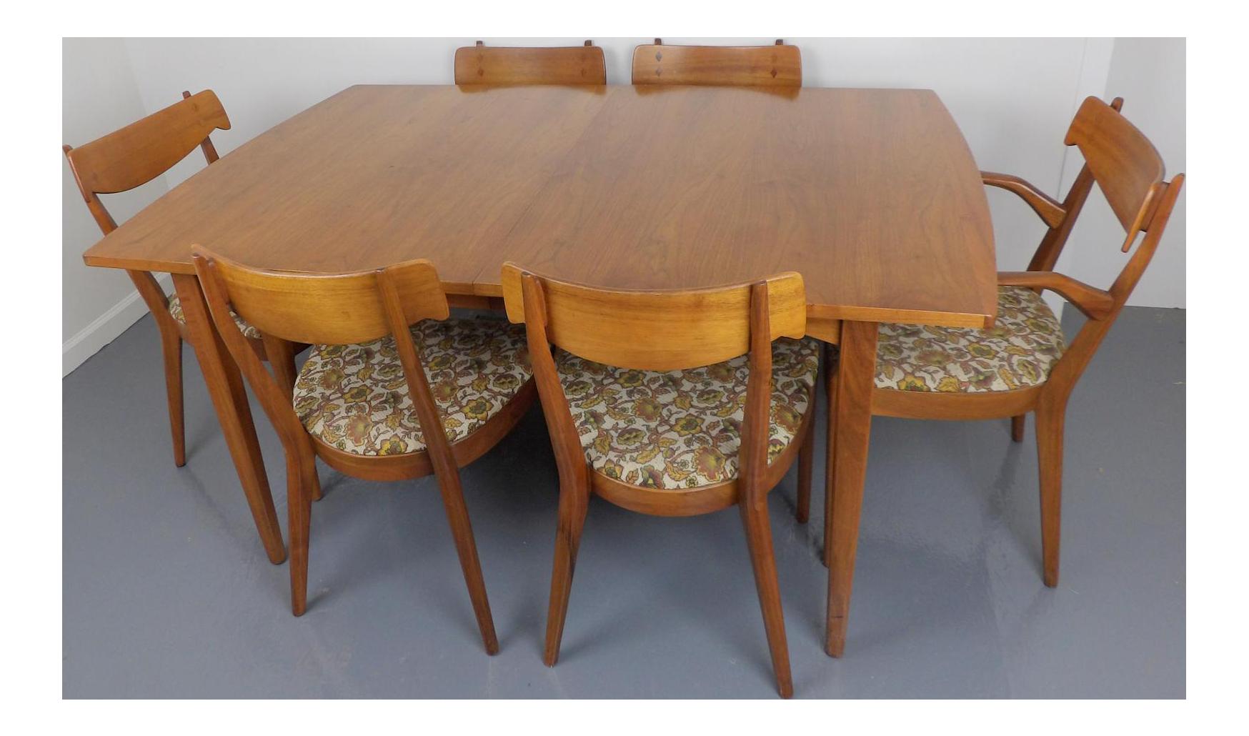 Mid Century Modern Walnut Dining Table Leaves u0026 6 Chairs Set Kipp Stewart for Drexel Declaration  sc 1 st  Chairish & Mid Century Modern Walnut Dining Table Leaves u0026 6 Chairs Set Kipp ...