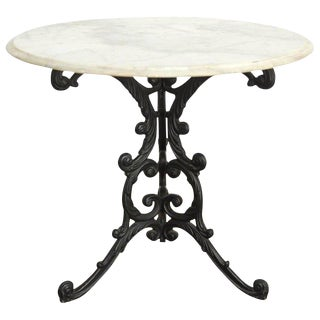 French Art Nouveau Style Iron Marble Bistro Table For Sale