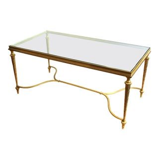 Hollywood Regency Gilt Metal Coffee Table with Glass Top For Sale