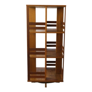 Mid-Century Modern Swedish Teak Rotating Book Shelf For Sale