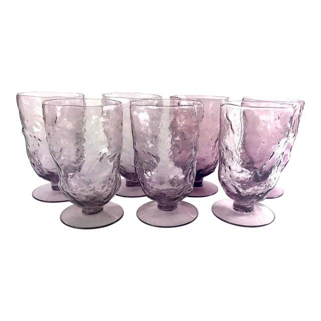 Vintage Mid-Century Seneca Driftwood Amethyst Crinkle Footed Glasses - Set of 7 For Sale