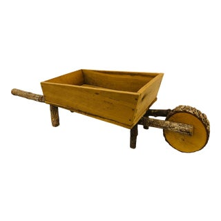 Vintage Wooden Wheel Barrel Planter For Sale
