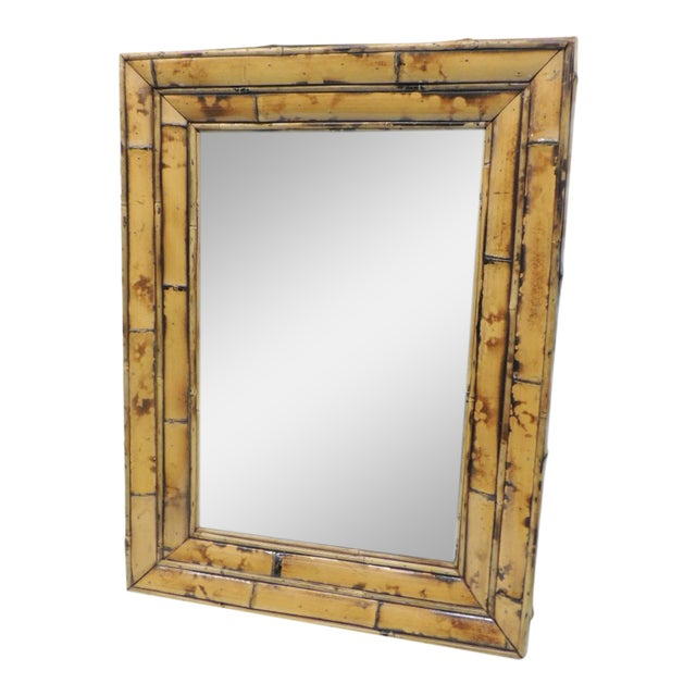 Vintage Rectangular Wood and Bamboo Mirror - Image 1 of 5