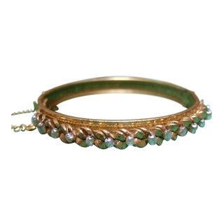 Miriam Haskell Elegant Brass Metal Glass Seed Pearl Bracelet C 1960 For Sale