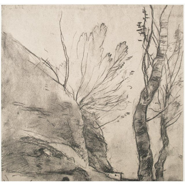 Cottage Vintage Cottage Lithograph After Chalk Drawing by Corot For Sale - Image 3 of 9