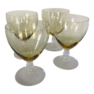 Vintage Clear Fluted Stem Canary Yellow Crystal Water Goblets - Set of 4 For Sale