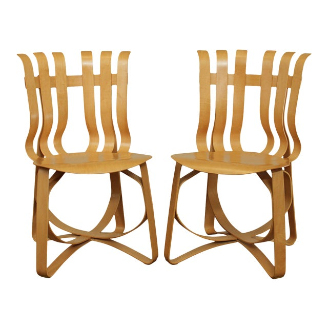 "Frank Gehry for Knoll Bent Wood Pair ""Har Trick"" Chairs For Sale"