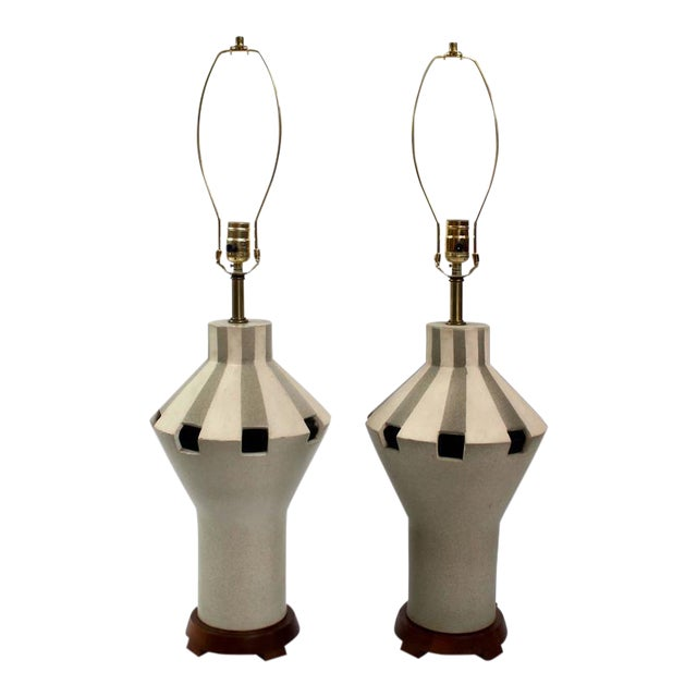 1960s Bitossi Ceramic Table Lamps - A Pair For Sale