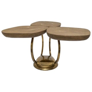 Rare Lily Pad Cocktail Table in Shagreen & Brass by R&y Augousti For Sale