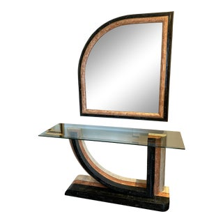 1980s Tessellated Stone Console and Mirror For Sale