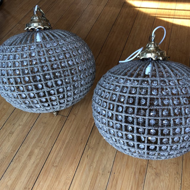 Large Sphere Crystal Chandeliers - a Pair For Sale In Atlanta - Image 6 of 7