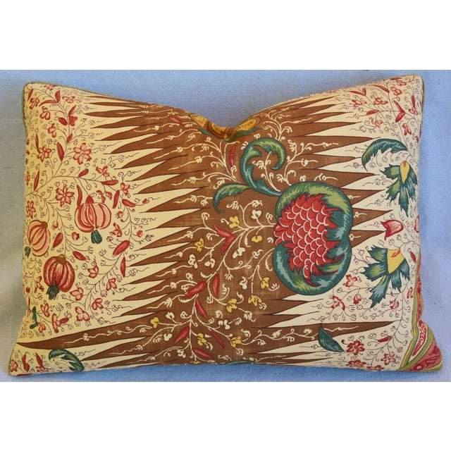 """Red French Pierre Frey La Riviere Feather/Down Pillow 22"""" X 16"""" For Sale - Image 8 of 8"""