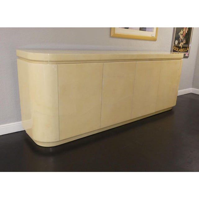 A Fantastic Lacquered Ivory Goatskin Credenza Or Buffet Made In Colombia By Jimeco Ltda. 4 Doors With Sliding Shelves And...