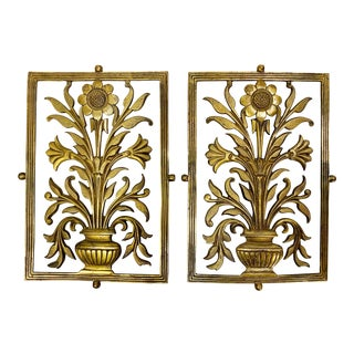 Late 19th Century Antique Aesthetic Movement Brass Screen Panels - a Pair For Sale