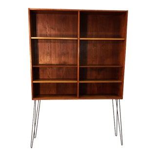 Tall Teak Bookcase w/ Iron Legs For Sale