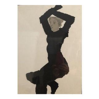 """Woman Original Watercolor & Cut Paper by JoAnn Belson For Sale"