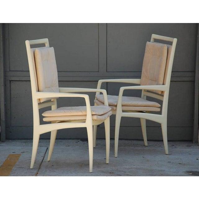 Pair of exceptional bone lacquer armchairs by Vladimir Kagan. Retaining their original Vladimir Kagan Studios tag. Could...