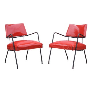 1950s Mid-Century Metal & Red Vinyl Lounge Chairs - a Pair For Sale