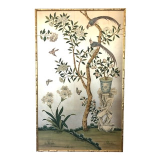 Chinoiserie Gracie Wallpaper Panel in Faux Bamboo Frame For Sale