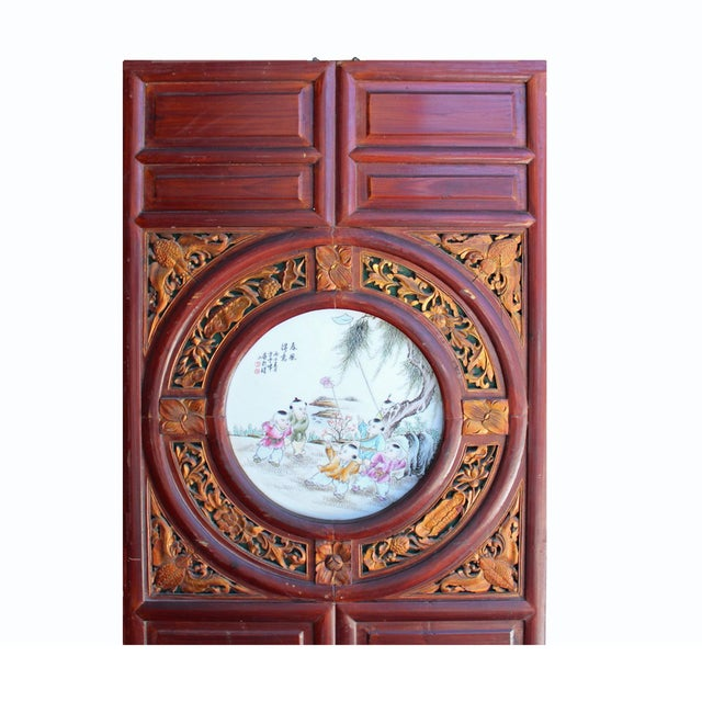 Chinese Vintage Round Porcelain Scenery Wood Wall Panel Art For Sale In San Francisco - Image 6 of 8