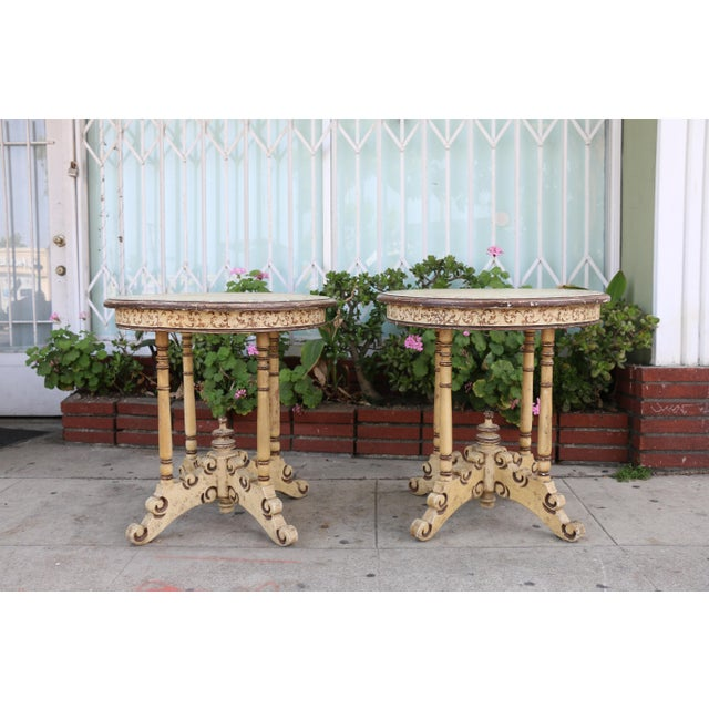 1950s Campaign Carved and Hand Painted Tall Center Tables - a Pair For Sale - Image 12 of 12