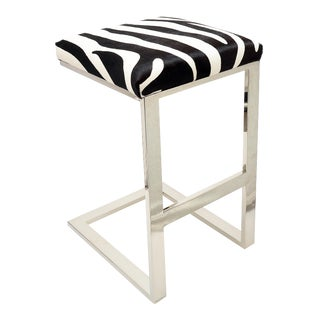 Zebra Hair-On-Hide Hot Toddy Bar Stool For Sale
