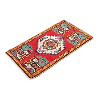 Antique Turkish Tribal Authentic Multi Color Rug - 2x3 Ft For Sale