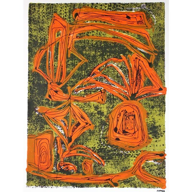 Jerry Opper Mid-Century Tropical Abstract Lithograph, Circa 1950s For Sale - Image 4 of 4