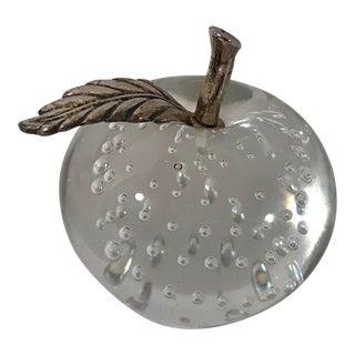 Art Glass Controlled Bubbles Metal Stem Apple