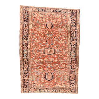Late 19th Century Hand Knotted Persian Heriz Wool For Sale