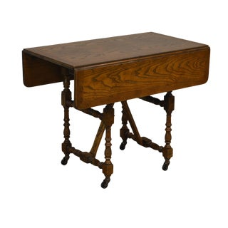 Baker Vintage Jacobean Style Oak Dropleaf High Low Adjustable Coffee Serving Table For Sale