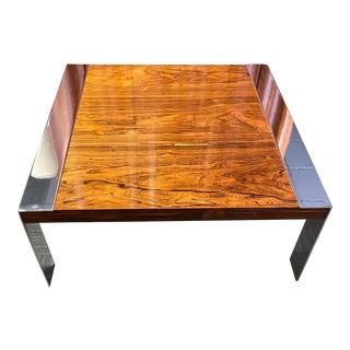 1970s Milo Baughman Rosewood and Chrome Coffee Table For Sale
