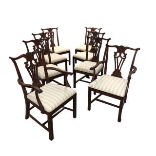 21st Century Vintage Baker Milling Road Chippendale Dining Chairs- Set of 8 For Sale