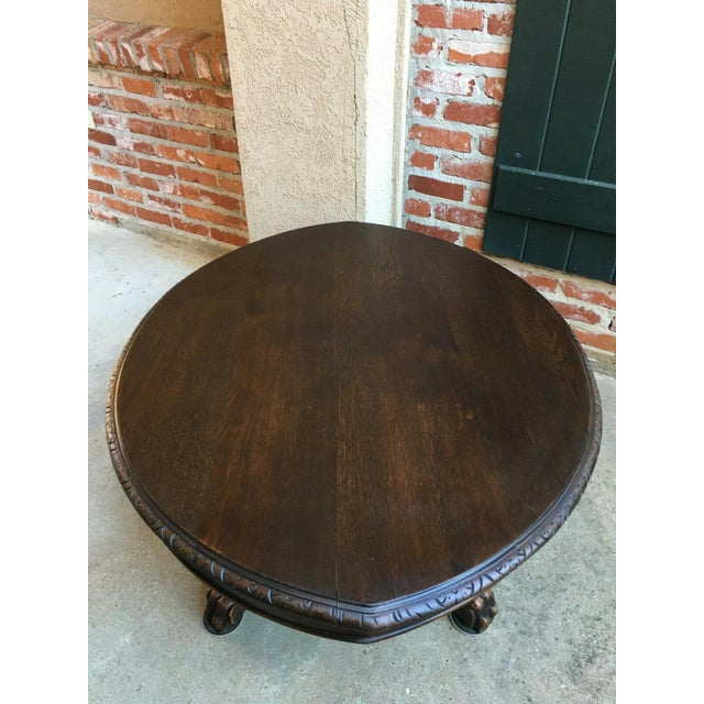 Antique French Carved Oak Hunt Coffee Table Renaissance