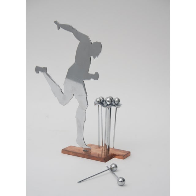 1920s Art Deco Stylized Soccer Player Cocktail Picks For Sale - Image 5 of 6