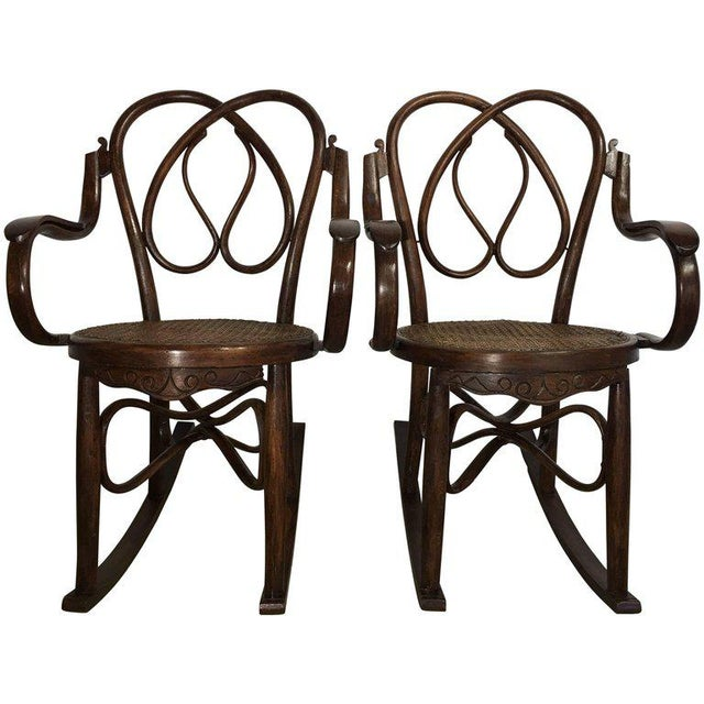 Bentwood 19th Century Bentwood Rocking Chairs in Style of Jacob & Josef - A Pair For Sale - Image 7 of 7