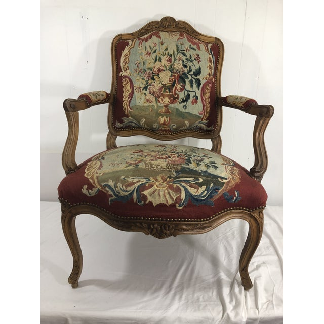 Wood Louis XV Style Arm Chair With Aubusson Tapestry For Sale - Image 7 of 7
