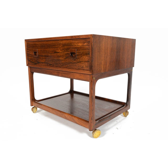 Danish Modern Rosewood Rolling Cart - Image 3 of 11